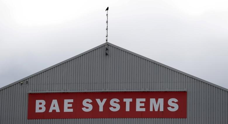 A sign adorns a hangar at the BAE Systems facility at Salmesbury, near Preston, northern England March 10, 2016.  REUTERS/Phil Noble