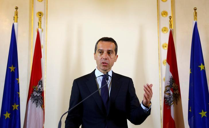 Austrian Chancellor Christian Kern addresses the media in Vienna, Austria, June 24, 2016.   REUTERS/Leonhard Foeger/File Photo