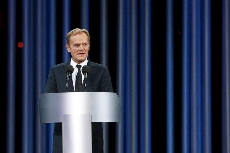 European Council President Donald Tusk delivers a speech during a ceremony commemorating the victims of Babyn Yar (Babi Yar), one of the biggest single massacres of Jews during the Nazi Holocaust, in Kiev, Ukraine, September 29, 2016. REUTERS/Valentyn Ogirenko