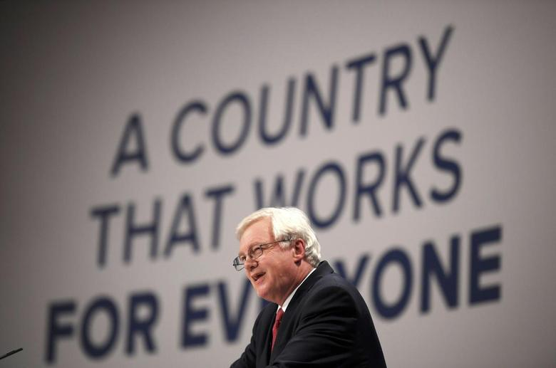 Britain's Secretary of State for Exiting the European Union David Davies speaks at the annual Conservative Party Conference in Birmingham, Britain, October 2, 2016. REUTERS/Toby Melville