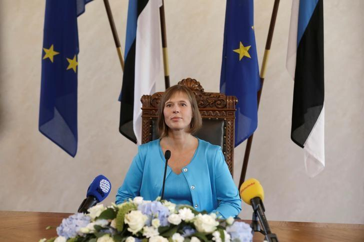 Newly-elected Estonia's President Kersti Kaljulaid listens during a news conference after the vote in the country's Parliament in Tallinn, Estonia, October 3, 2016.  REUTERS/Ints Kalnins
