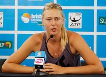 Maria Sharapova of Russia speaks during a news conference at the Brisbane International tennis tournament in Brisbane, Australia January 1, 2013. REUTERS/Daniel Munoz/File Photo