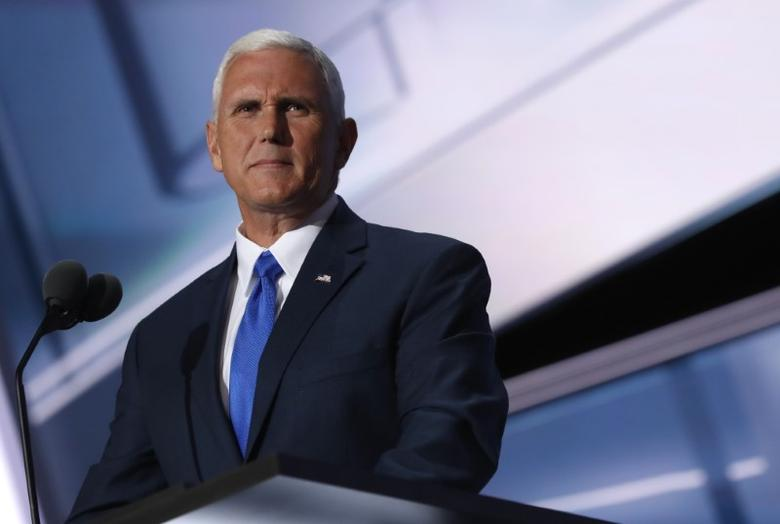 Republican vice presidential nominee Indiana Governor Mike Pence speaks at the Republican National Convention in Cleveland, Ohio, U.S. July 20, 2016.     REUTERS/Jonathan Ernst