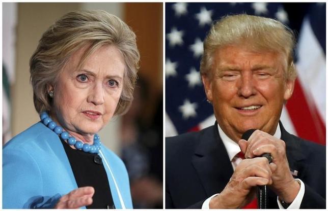 10月3日、ロイター/イプソスが3日に公表した米世論調査によると、米大統領選の民主党候補、ヒラリー・クリントン氏(写真左)が引き続き、共和党のドナルド・トランプ候補(右)よりも優勢となっている。5月撮影(2016年 ロイター/Lucy Nicholson (L) and Jim Urquhart)