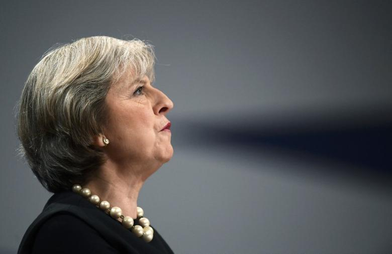 Britain's Prime Minister Theresa May speaks at the annual Conservative Party Conference in Birmingham, Britain, October 2, 2016. REUTERS/Toby Melville