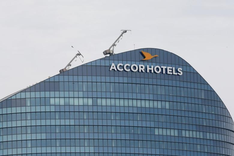 The logo of French hotel operator AccorHotels is seen on top of the building company's headquarters in Issy-les-Moulineaux near Paris, France, April 22, 2016. REUTERS/Gonzalo Fuentes/File Photo