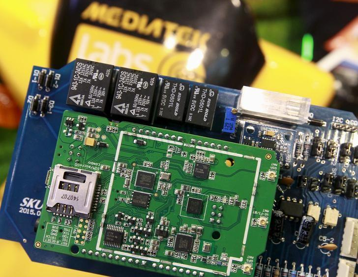 MediaTek chips are seen on a development board at the MediaTek booth during the 2015 Computex exhibition in Taipei, Taiwan, June 3, 2015. Computex, the world's second largest computer show, runs from June 2 to 6. REUTERS/Pichi Chuang