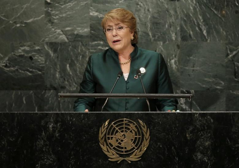 President Michelle Bachelet of Chile addresses the 71st United Nations General Assembly in Manhattan, New York, U.S. September 21, 2016. REUTERS/Mike Segar