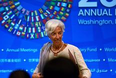 IMF Managing Director Christine Lagarde takes questions from the press at the annual meetings of the IMF and World Bank Group in Washington, U.S., October 6, 2016. REUTERS/James Lawler Duggan