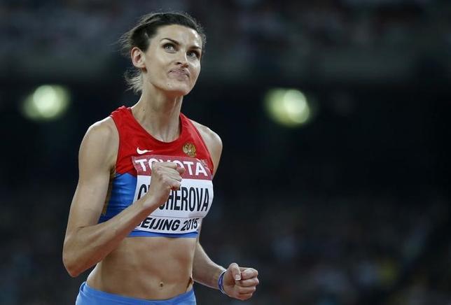 10月6日、IOCは、陸上女子走り高跳びのアンナ・チチェロワ(ロシア)が北京五輪のドーピング再検査で陽性反応を示したとして、銅メダルをはく奪したと発表した。2015年8月撮影(2016年 ロイター/Phil Noble)