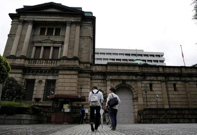 10月7日、日銀が公表した金融市場調節の対象先や短期金融市場の主要な参加者を対象にしたアンケート調査によると、マイナス金利政策を背景に、短期市場の機能度が「低下した」との回答が約6割に増加した。日銀本店、先月撮影(2016年 ロイター/Toru Hanai)