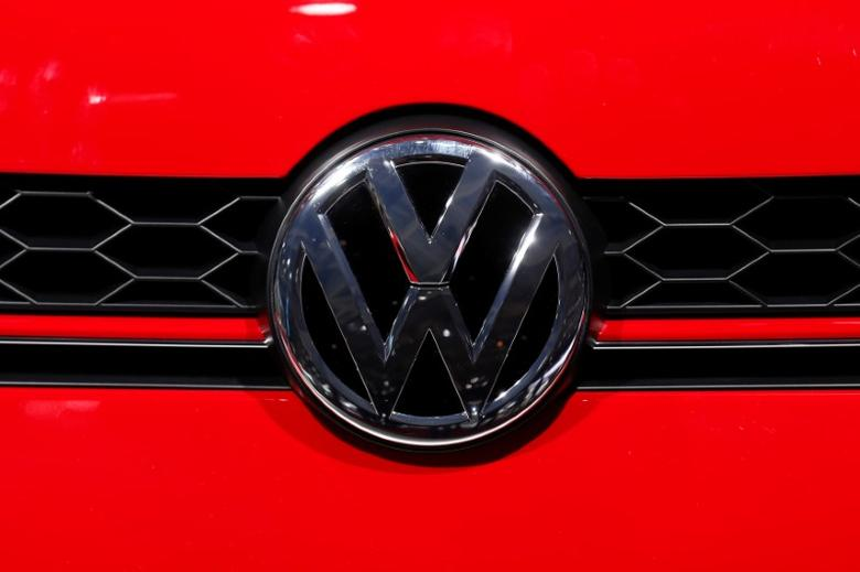A Volkswagen logo is seen on media day at the Paris auto show, in Paris, France, September 30, 2016. REUTERS/Benoit Tessier