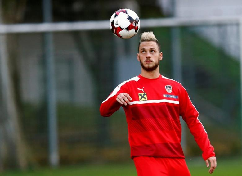 Football Soccer - Austria's national soccer team training - World Cup 2018 Qualifier - Vienna, Austria - 3/10/16. Austria's  Marko Arnautovic attends a training session.  REUTERS/Leonhard Foeger