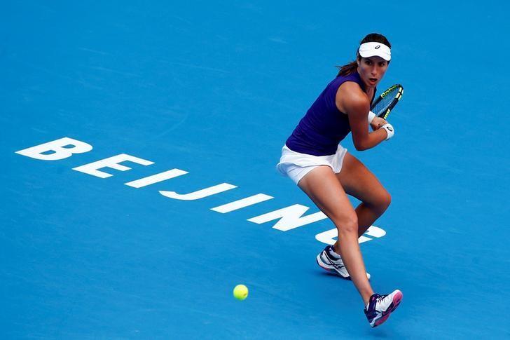 Tennis - China Open Women's Singles semifinal - Beijing, China - 08/10/16. Britain's Johanna Konta plays against Madison Keys of the U.S.  REUTERS/Thomas Peter