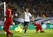 Football Soccer - Germany v Czech Republic - 2018 World Cup Qualifying European Zone - Group C - Hamburg arena, Hamburg, Germany - 8/10/16 Germany's Thomas Mueller reacts after scoring  REUTERS/Wolfgang Rattay