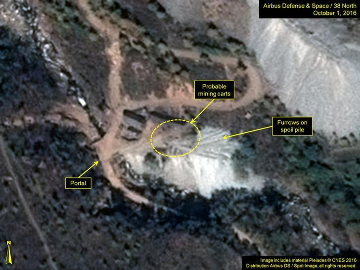 A satellite image of the area around North Korea's Punggye-Ri nuclear test site shows graphics pointing to what monitoring group 38 North says are signs of increased activity, in a photo released by the 38 North group October 7, 2016. Includes material Pleiades (C) CNES 2016 Distribution Airbus DS/Spot Image, all rights reserved.  Airbus Defense & Space and 38 North/Handout via Reuters