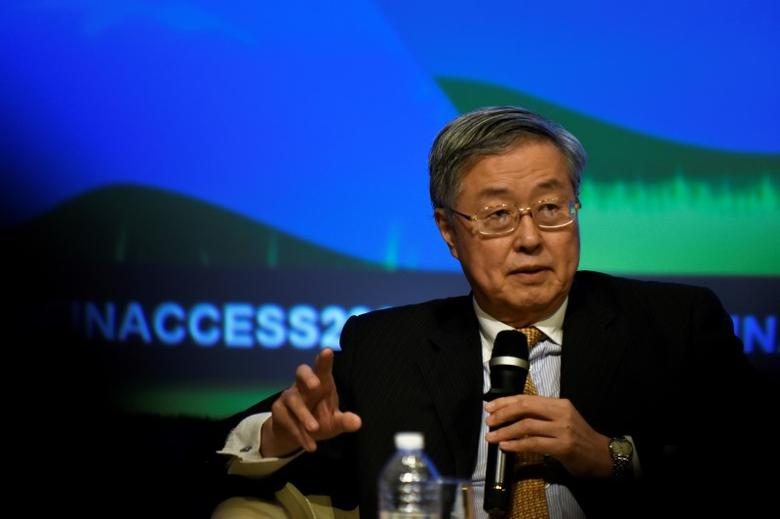 People's Bank of China Governor Zhou Xiaochuan speaks on a panel at the annual meetings of the IMF and World Bank Group in Washington October 7, 2016. REUTERS/James Lawler Duggan