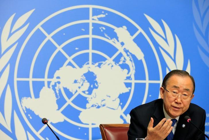 U.N. Secretary-General Ban Ki-moon speaks to the press at the United Nations European headquarters in Geneva, Switzerland October 3, 2016. REUTERS/Pierre Albouy