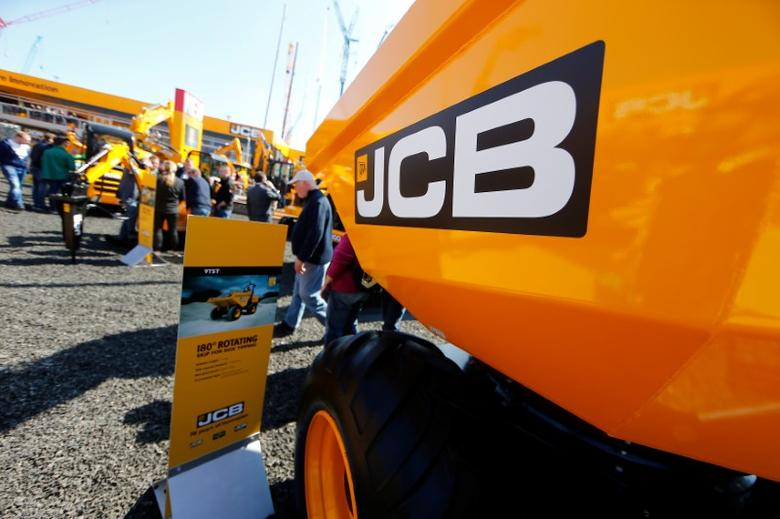 A JCB company logo is pictured at the ''Bauma'' Trade Fair for Construction, Building Material and Mining Machines and Construction Vehicles and Equipment in Munich, southern Germany, April 11, 2016. REUTERS/Michael Dalder