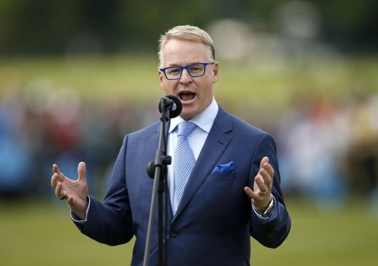 Britain Golf - BMW PGA Championship - Wentworth Club, Virginia Water, Surrey, England - 29/5/16CEO of the PGA European Tour Keith Pelley speaks during the presentationMandatory Credit: Action Images / Andrew Boyers