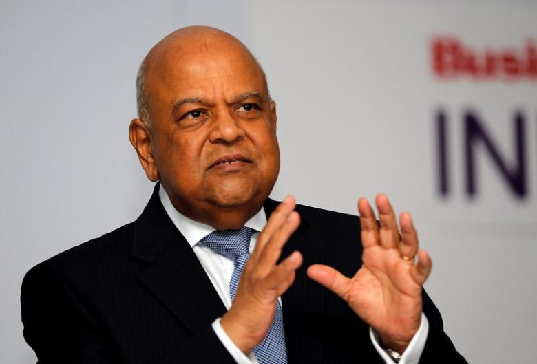 Finance Minister Pravin Gordhan gestures during his address at a business summit in Sandton, South Africa, September 13, 2016. REUTERS/Siphiwe Sibeko