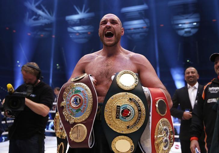 Boxing - Wladimir Klitschko v Tyson Fury WBA, IBF & WBO Heavyweight Title's - Esprit Arena, Dusseldorf, Germany - 28/11/15Tyson Fury celebrates winning the fightAction Images via Reuters / Lee SmithLivepic