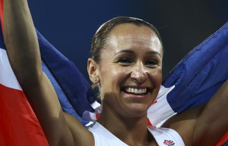 2016 Rio Olympics - Athletics - Final - Women's Heptathlon 800m - Olympic Stadium - Rio de Janeiro, Brazil - 13/08/2016. Silver medal winner Jessica Ennis-Hill (GBR) of Britain celebrates after the event.  REUTERS/Ivan Alvarado/Files