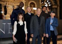 Director Ron Howard (R) poses with actors Tom Hanks (3rd R), Felicity Jones (L), Omar Sy (2nd L), Irrfan Khan (2nd R) and writer Dan Brown at a screening of his film 'Inferno' in Florence, Italy October 6, 2016. REUTERS/Max Rossi