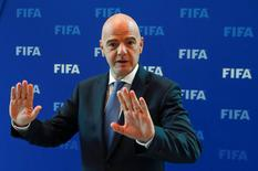 FIFA President Gianni Infantino gestures after a meeting of the FIFA Council at the FIFA headquarters in Zurich, Switzerland October 14, 2016.  REUTERS/Arnd Wiegmann