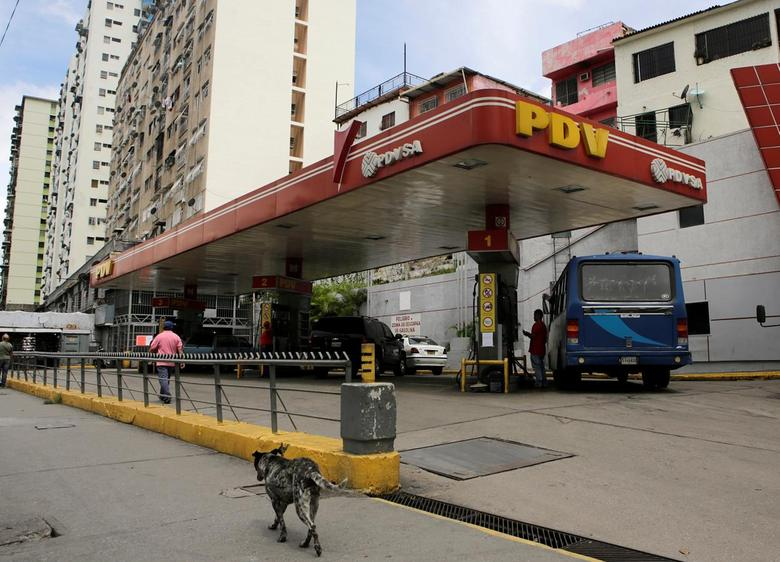 A dog walks past a gas station with the logo of the Venezuelan state oil company PDVSA in Caracas, Venezuela, September 14, 2016. REUTERS/Henry Romero