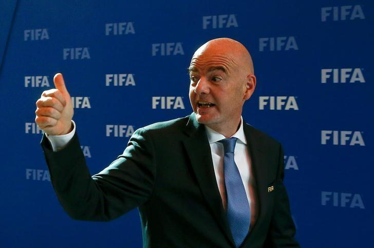 FIFA President Gianni Infantino gestures as he leaves after a meeting of the FIFA Council at the FIFA headquarters in Zurich, Switzerland October 14, 2016.  REUTERS/Arnd Wiegmann