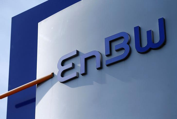 A logo of German power supplier EnBW Energie Baden-Wuertemberg AG is pictured at the companies headquarters in Karlsruhe, Germany March 17, 2015. REUTERS/Ralph Orlowski/File Photo
