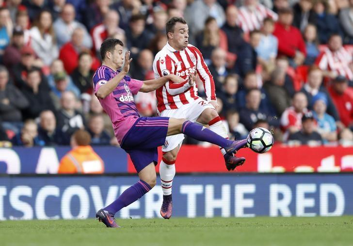 Britain Football Soccer - Stoke City v Sunderland - Premier League - bet365 Stadium - 15/10/16Stoke City's Xherdan Shaqiri in action with Sunderland's Javi ManquilloAction Images via Reuters / Carl RecineLivepic
