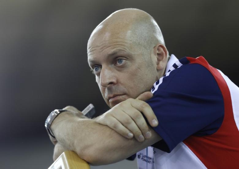 Former Team Britain cycling performance director David Brailsford attends the UCI Track Cycling World Cup at the Olympic Velodrome in London February 18, 2012.  REUTERS/Eddie Keogh