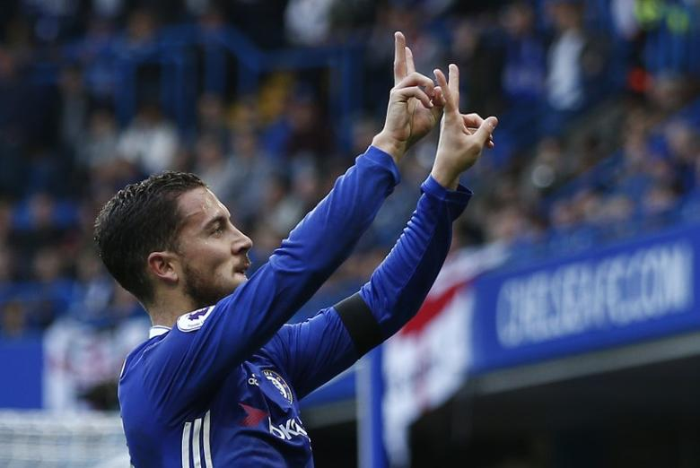 Britain Football Soccer - Chelsea v Leicester City - Premier League - Stamford Bridge - 15/10/16Chelsea's Eden Hazard celebrates scoring their second goal Reuters / Peter Nicholls