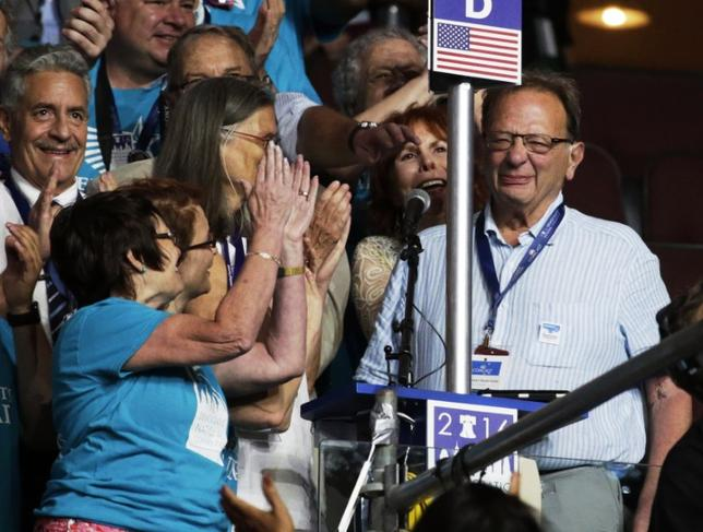 Larry Sanders casts a vote for his younger brother Senator Bernie Sanders during the Democratic National Convention in Philadelphia, Pennsylvania, U.S. July 26, 2016. REUTERS/Gary Cameron