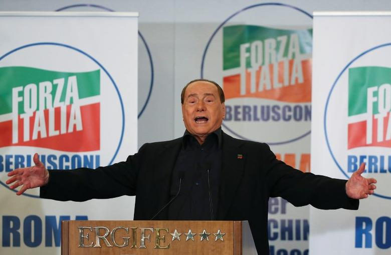 Former Italian prime minister Silvio Berlusconi gestures as he makes his speech during a presentation of Rome's mayoral candidate Alfio Marchini (not seen) in Rome, Italy May 10, 2016   REUTERS/Alessandro Bianchi