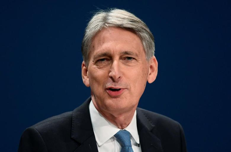 Britain's Chancellor of the Exchequer Philip Hammond speaks at the Conservative Party conference in Birmingham, Britain October 3, 2016. REUTERS/Toby Melville/File Photo