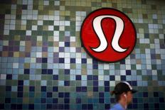 A Lululemon store logo is pictured on a shop in Santa Monica, California, United States, April 12, 2016. REUTERS/Lucy Nicholson - RTX29OZG