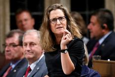 Canada's International Trade Minister Chrystia Freeland speaks during Question Period in the House of Commons on Parliament Hill in Ottawa, Ontario, Canada, in this October 17, 2016 file photo. REUTERS/Chris Wattie - RTX2P85Z