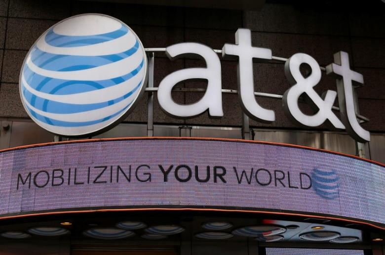 Signage for an AT&T store is seen in New York October 29, 2014.    REUTERS/Shannon Stapleton/File Photo