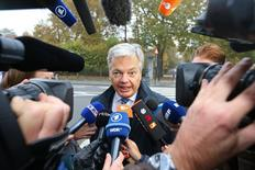 Belgium's Foreign Minister Didier Reynders arrives at a meeting on the Comprehensive Economic and Trade Agreement (CETA), a planned EU-Canada free trade agreement, at the Lambermont Residence in Brussels, Belgium, October 27, 2016. REUTERS/Yves Herman