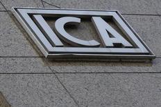 El logo de la constructora ICA en Ciudad de México. 8 de marzo de 2016. La constructora mexicana ICA dijo el jueves que retrasará la presentación de su reporte de resultados del tercer trimestre hasta finales de noviembre, debido a que está enfocada en su proceso de reestructuración operativa y financiera. REUTERS/Edgard Garrido