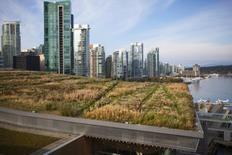 A landscaper mows the lawn on the Vancouver Convention Centre's six-acre living roof in Vancouver,  REUTERS/Ben Nelms