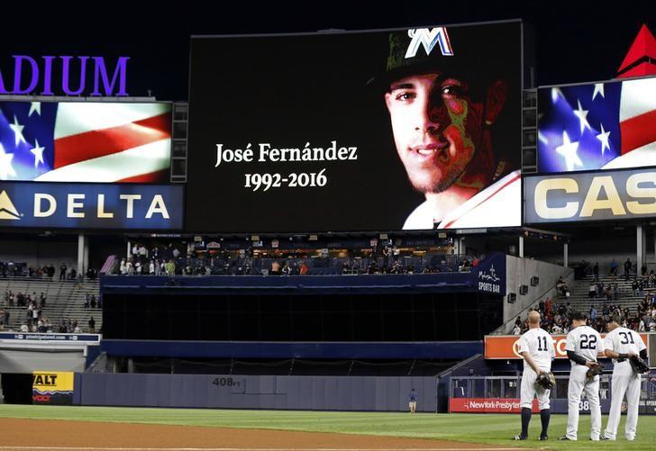 Sep 27, 2016; Bronx, NY, USA; A moment of silence is observed for Miami Marlins Jose Fernandez who was killed in a boating accident prior to the New York Yankees taking on the Boston Red Sox at Yankee Stadium. Mandatory Credit: Adam Hunger-USA TODAY Sports