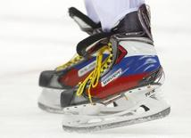 A close-up view of the skates of Russia's Alexander Ovechkin at the 2014 Sochi Winter Olympic Games. REUTERS/Brian Snyder