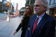 New York financier Lynn Tilton, (L) founder of private equity firm Patriarch Partners, exits the U.S. District courthouse with her lawyer Randy Mastro (R) in New York City, U.S., November 1, 2016.  REUTERS/Brendan McDermid