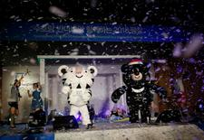 "The mascots for the 2018 Pyeongchang Winter Olympics ""Soohorang"" and ""Bandabi"" (R) are seen during their launching ceremony in Pyeongchang, South Korea, July 18, 2016. REUTERS/Kim Hong-Ji"