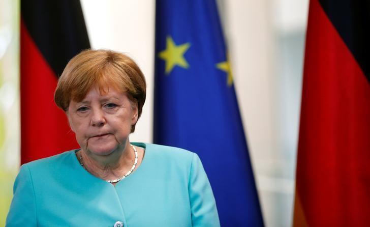 German Chancellor Angela Merkel arrives for a statement in Berlin, Germany, June 24, 2016. REUTERS/Hannibal Hanschke/File Photo