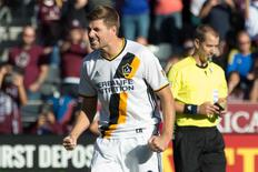 Nov 6, 2016; Commerce City, CO, USA; Los Angeles Galaxy midfielder Steven Gerrard (8) reacts after scoring a goal in the penalty kick shootout against the Colorado Rapids at Dick's Sporting Goods Park. Rapids win 1-0 in a shootout (3-1). Mandatory Credit: Isaiah J. Downing-USA TODAY Sports